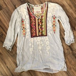 Johnny Was Ovett V Neck Striped Embroidered Tunic